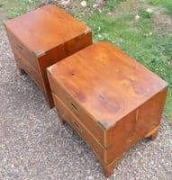 Pair Yew Military Style Small Chests